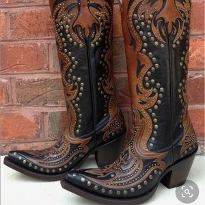Corral Black Brown Tall Inlay and Studs Boots